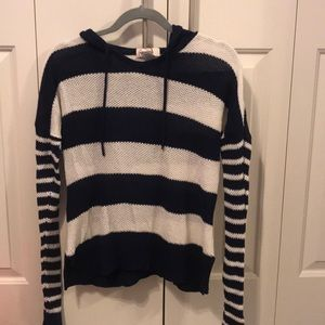 SO Navy Blue and White Striped Sweater with Hood
